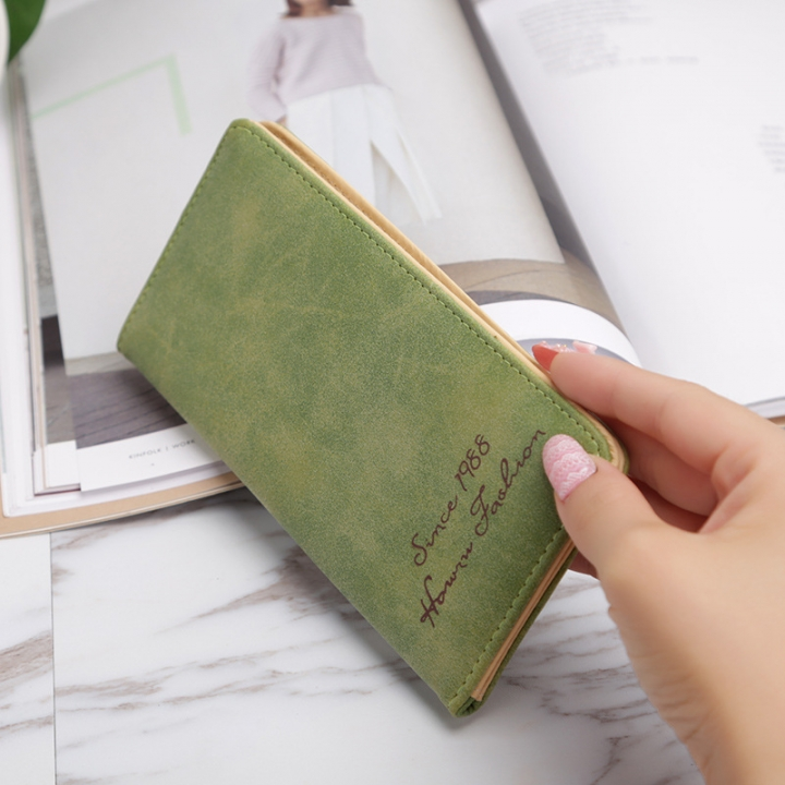 Ms Wallet Card Pack Ultra Thin Scrub Retro Fashion Leisure Student Wallet green one size