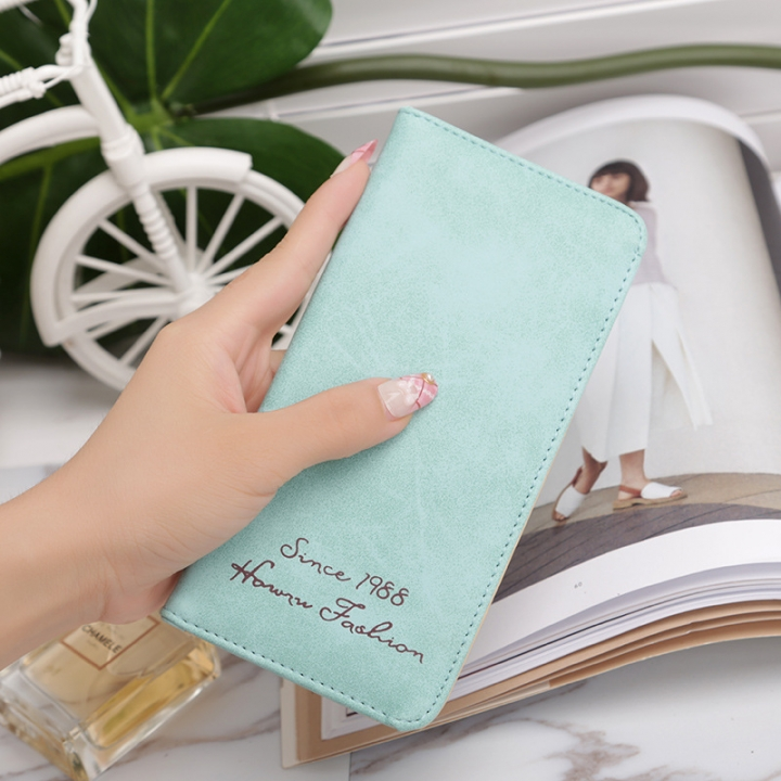 Ms Wallet Card Pack Ultra Thin Scrub Retro Fashion Leisure Student Wallet ligth green one size