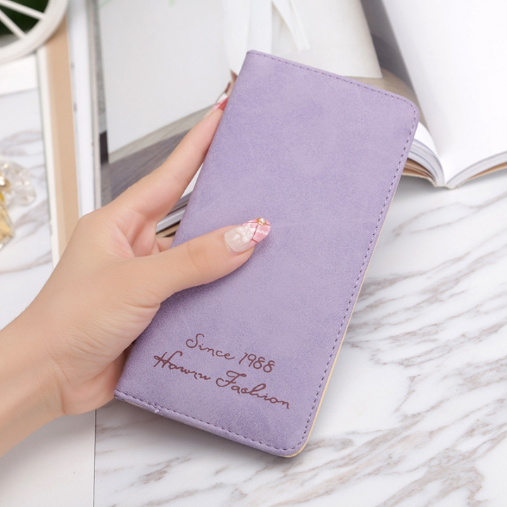 Ms Wallet Card Pack Ultra Thin Scrub Retro Fashion Leisure Student Wallet purple one size