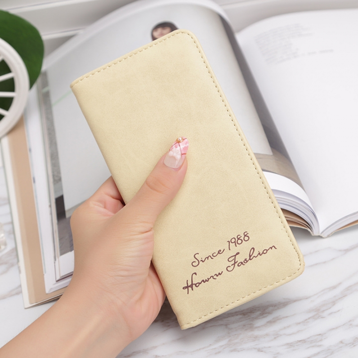 Ms Wallet Card Pack Ultra Thin Scrub Retro Fashion Leisure Student Wallet beige one size