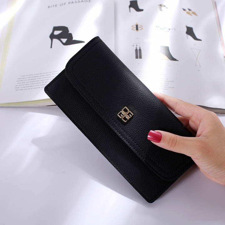 The New Ms Wallet Long Section Simple Wallet Multi-card Bit Soft Skin Coin Purse black one size