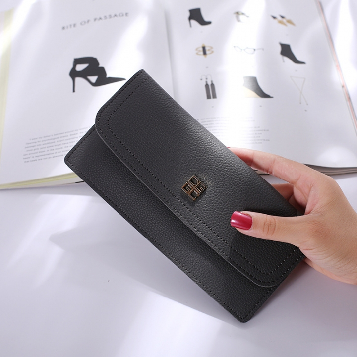 The New Ms Wallet Long Section Simple Wallet Multi-card Bit Soft Skin Coin Purse gray one size
