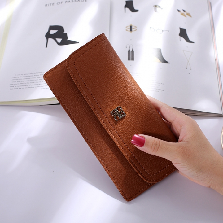The New Ms Wallet Long Section Simple Wallet Multi-card Bit Soft Skin Coin Purse brown one size