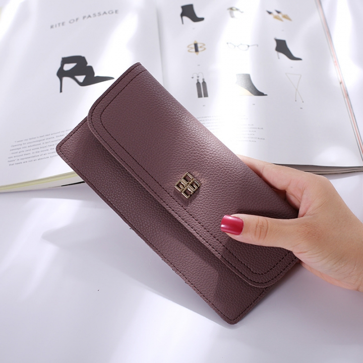 The New Ms Wallet Long Section Simple Wallet Multi-card Bit Soft Skin Coin Purse purple one size