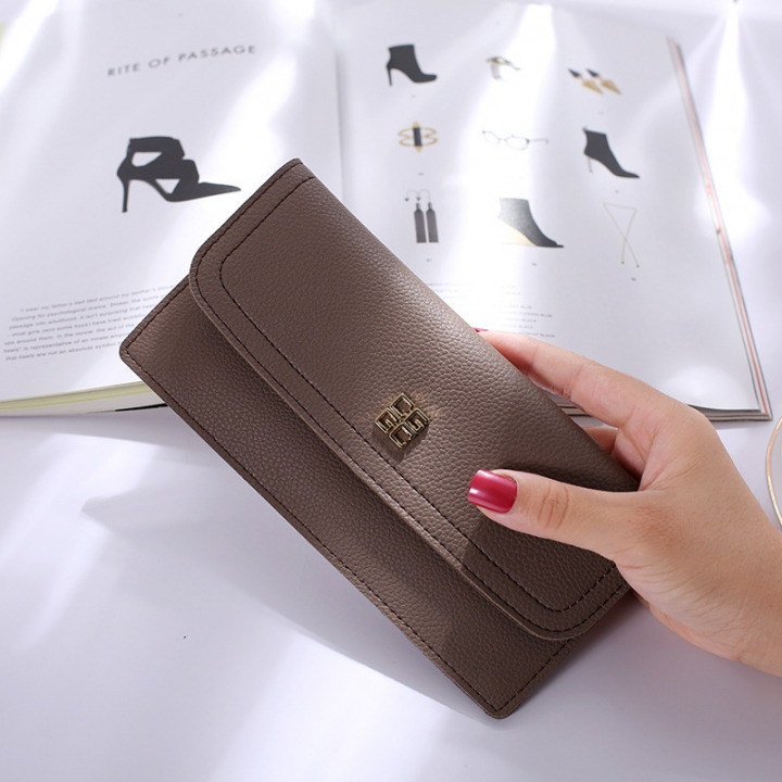 The New Ms Wallet Long Section Simple Wallet Multi-card Bit Soft Skin Coin Purse red wine one size