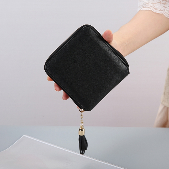 Female Small Wallet The New Litchi Pattern Zipper PU Leather Fashion Hand Bag Coin Purse black one size