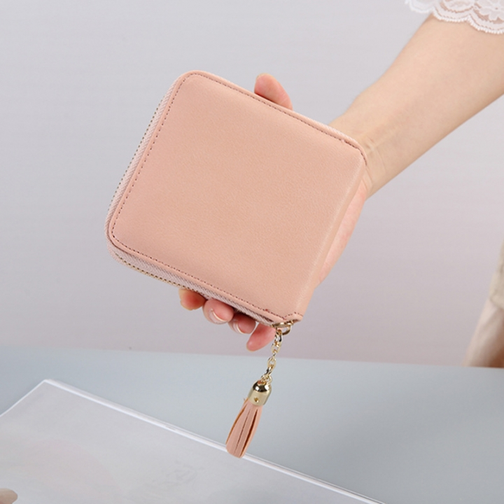 Female Small Wallet The New Litchi Pattern Zipper PU Leather Fashion Hand Bag Coin Purse pink one size