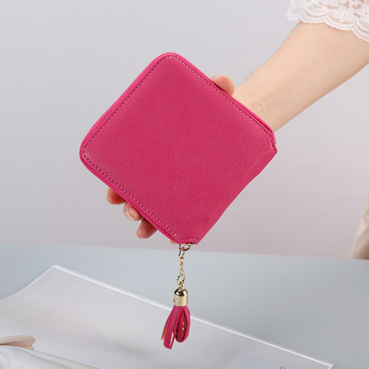 Female Small Wallet The New Litchi Pattern Zipper PU Leather Fashion Hand Bag Coin Purse rose red one size