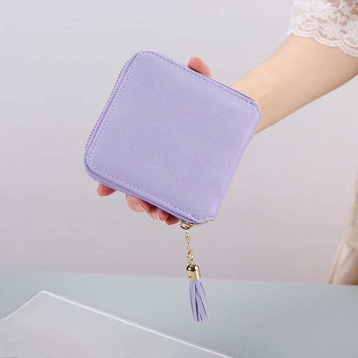Female Small Wallet The New Litchi Pattern Zipper PU Leather Fashion Hand Bag Coin Purse Violet one size