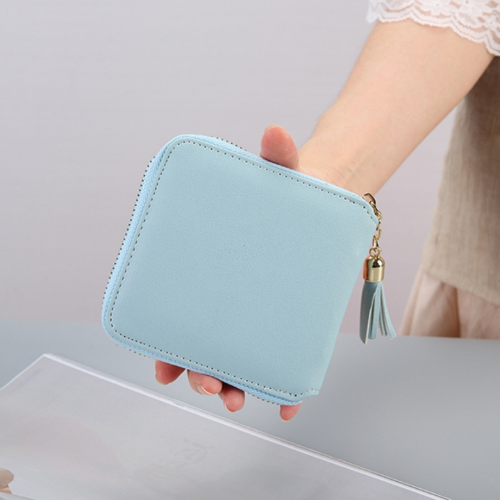 Female Small Wallet The New Litchi Pattern Zipper PU Leather Fashion Hand Bag Coin Purse ligth blue one size