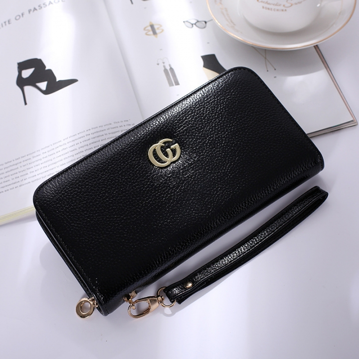 Solid Color Ms Wristbands Hand Bag Fashion Long Section Female Zipper Wallet High Capacity Wallet black one size