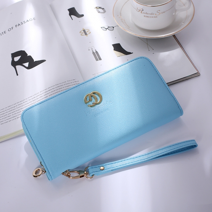 Solid Color Ms Wristbands Hand Bag Fashion Long Section Female Zipper Wallet High Capacity Wallet blue one size