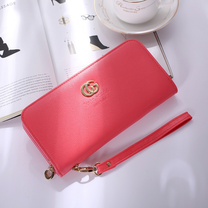 Solid Color Ms Wristbands Hand Bag Fashion Long Section Female Zipper Wallet High Capacity Wallet pink red one size