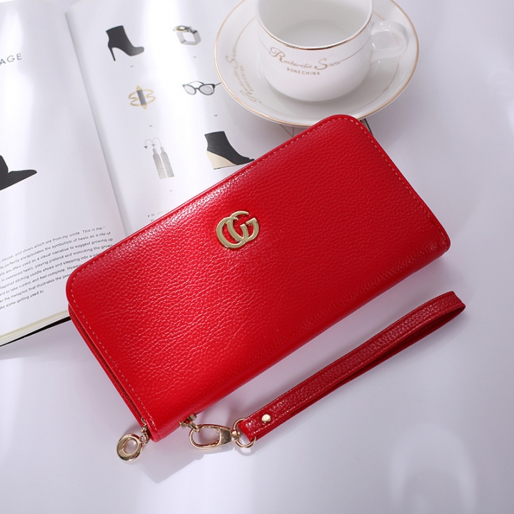 Solid Color Ms Wristbands Hand Bag Fashion Long Section Female Zipper Wallet High Capacity Wallet red one size