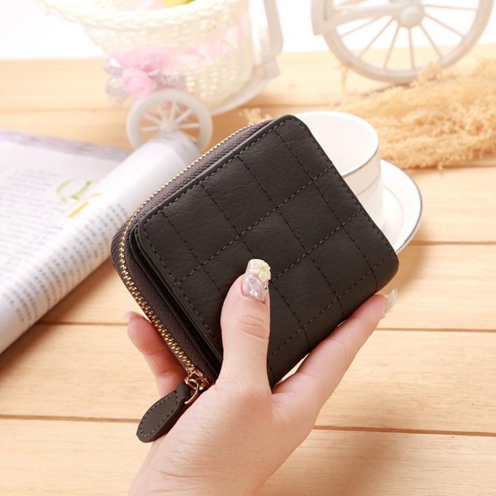 Mini Small Wallet Ms Zipper Lovely Coin Purse Student Short Section Embroidered Female Wallet gray one size