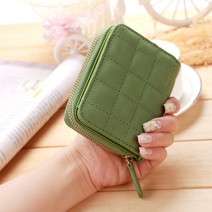 Mini Small Wallet Ms Zipper Lovely Coin Purse Student Short Section Embroidered Female Wallet green one size