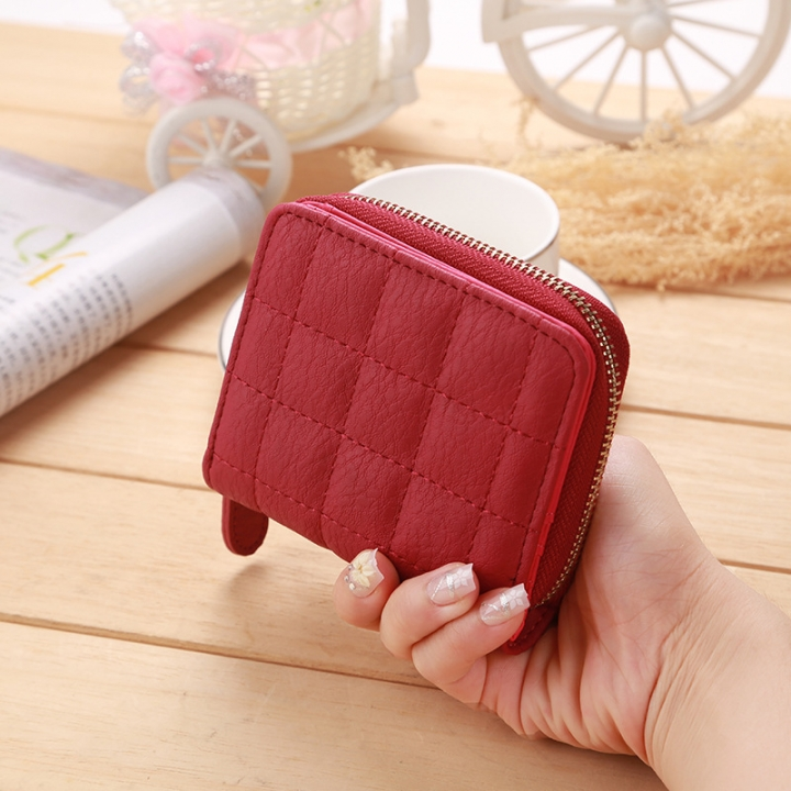 Mini Small Wallet Ms Zipper Lovely Coin Purse Student Short Section Embroidered Female Wallet red one size