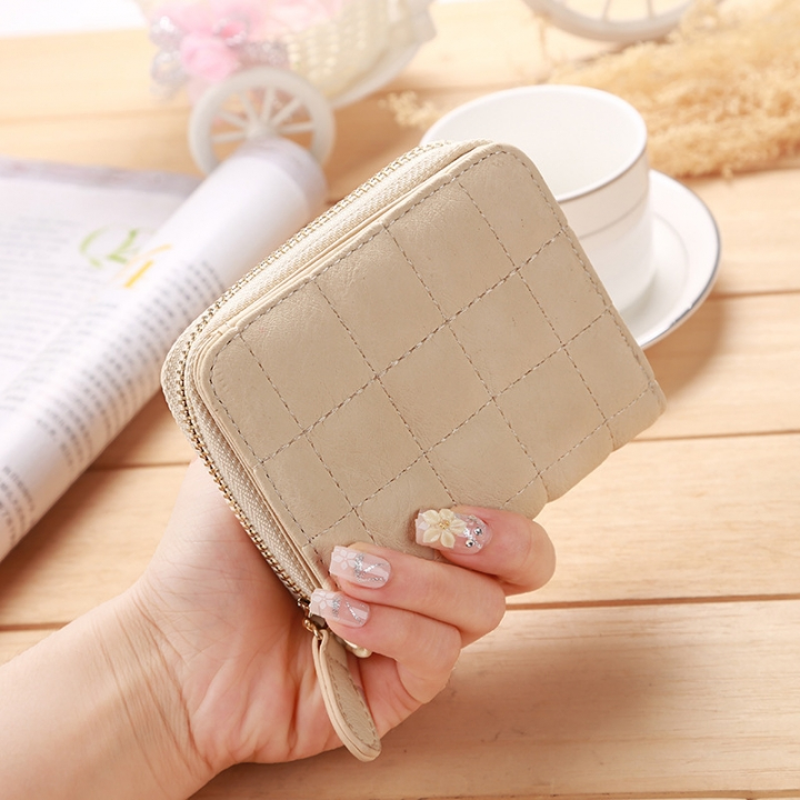 Mini Small Wallet Ms Zipper Lovely Coin Purse Student Short Section Embroidered Female Wallet beige one size