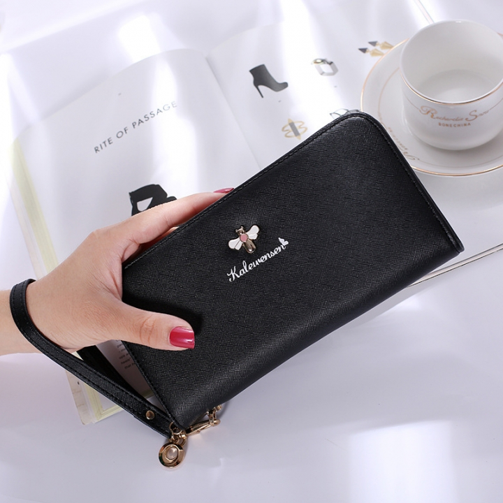 Ms Hand Bag Long Section Zipper Wallet Litchi Pattern Fashion Leisure Wallet black one size
