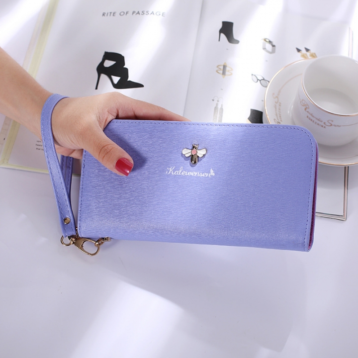 Ms Hand Bag Long Section Zipper Wallet Litchi Pattern Fashion Leisure Wallet ligth purple one size