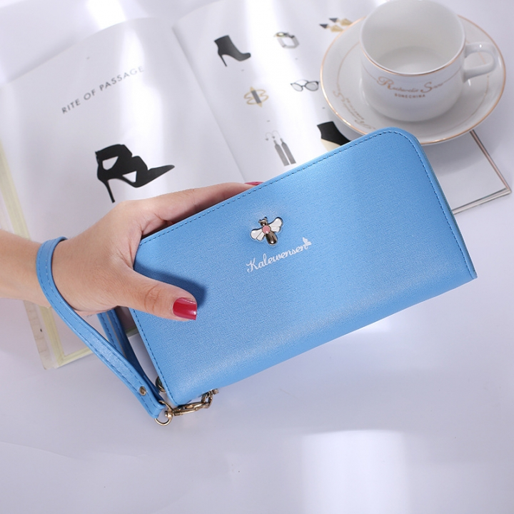 Ms Hand Bag Long Section Zipper Wallet Litchi Pattern Fashion Leisure Wallet blue one size