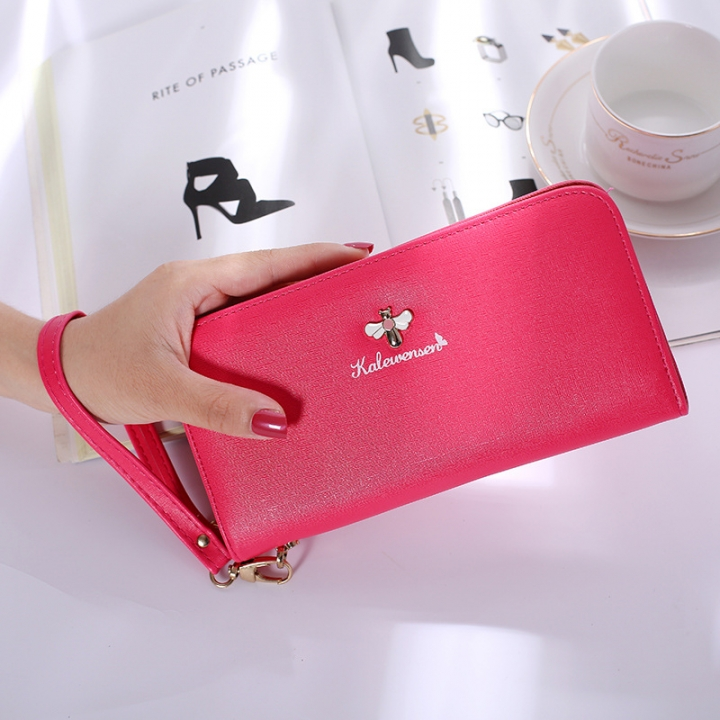 Ms Hand Bag Long Section Zipper Wallet Litchi Pattern Fashion Leisure Wallet red one size