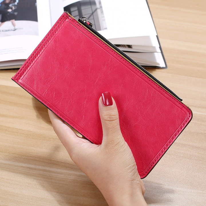 Fashion Flat Multi-card Bit Card Pack Ms Long Section Wallet Multifunction Ultra Thin Card Pack watermelon red one size