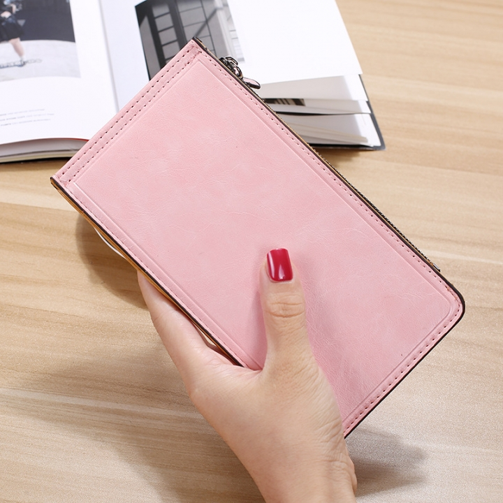 Fashion Flat Multi-card Bit Card Pack Ms Long Section Wallet Multifunction Ultra Thin Card Pack ligth pink one size