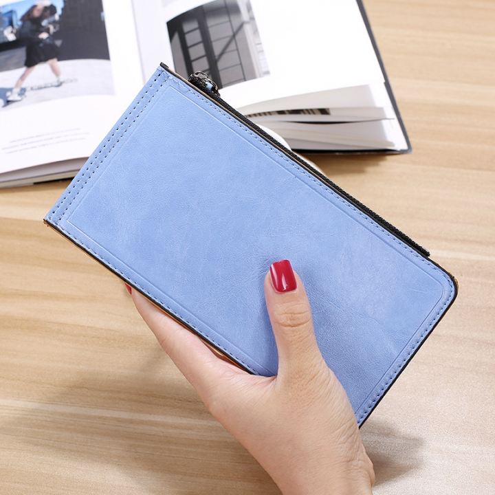 Fashion Flat Multi-card Bit Card Pack Ms Long Section Wallet Multifunction Ultra Thin Card Pack sky blue one size