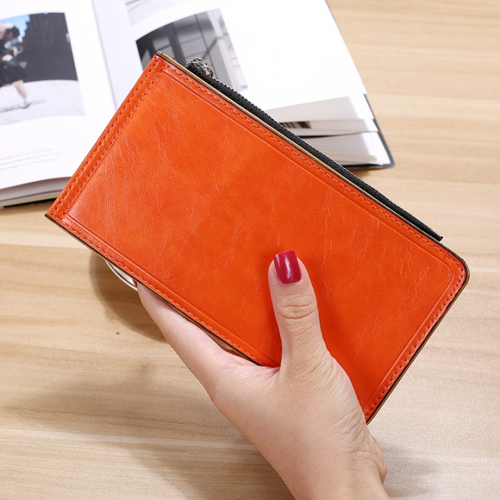 Fashion Flat Multi-card Bit Card Pack Ms Long Section Wallet Multifunction Ultra Thin Card Pack orange one size