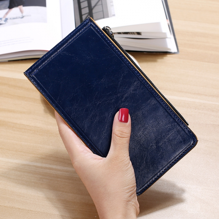 Fashion Flat Multi-card Bit Card Pack Ms Long Section Wallet Multifunction Ultra Thin Card Pack sapphire one size