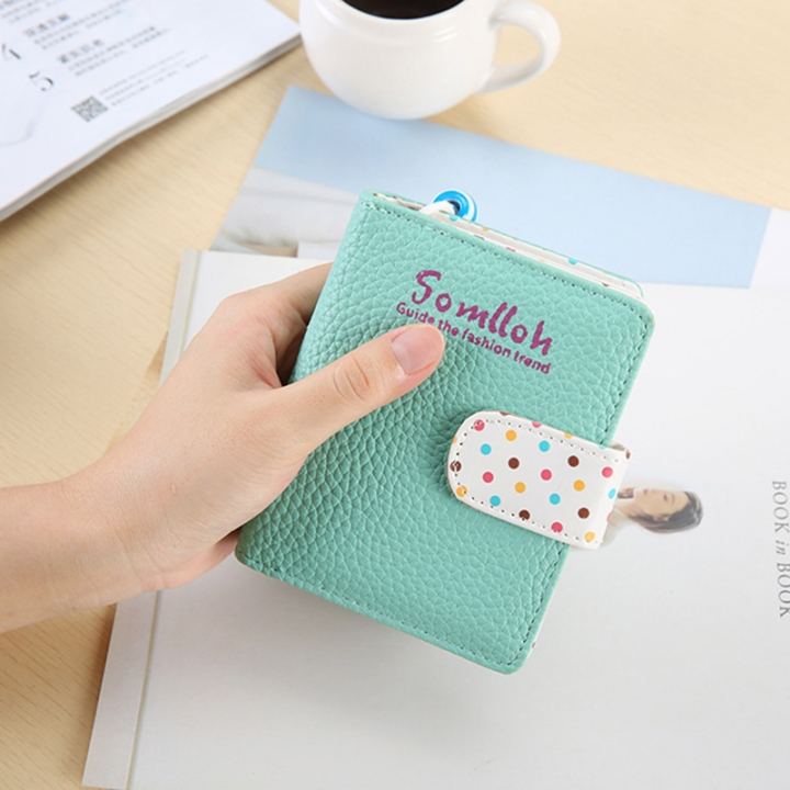 The New Ladies Lovely Wave Point Wallet Zipper Short Section Female Trend Wallet ligth green one size