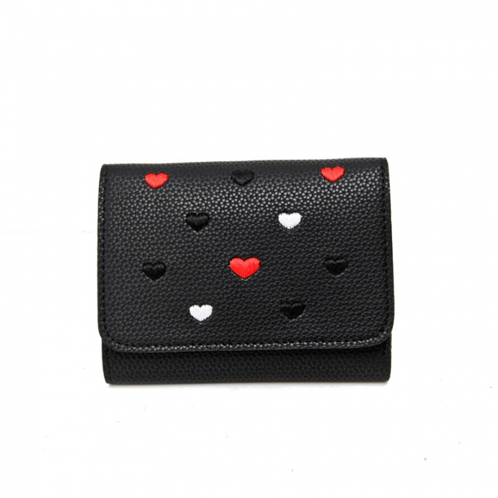 The New Ms wallet Short section lovely Coin Purse Small fresh Love student Card pack black one size