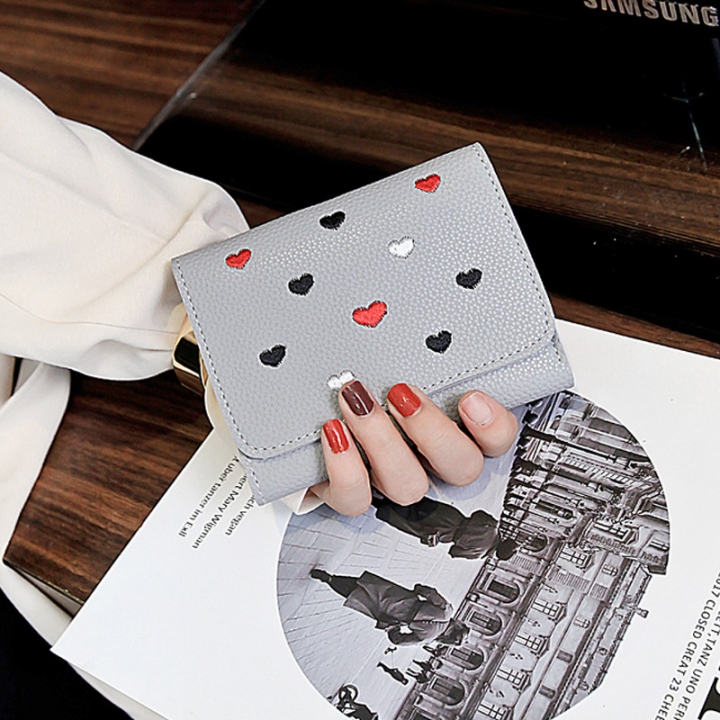 The New Ms wallet Short section lovely Coin Purse Small fresh Love student Card pack gray one size