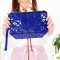 Female Shoulder Bags Lingge Chain Bag Mobile Phone Bag Messenger PU Fashion Leisure Lady Bags dark blue one size
