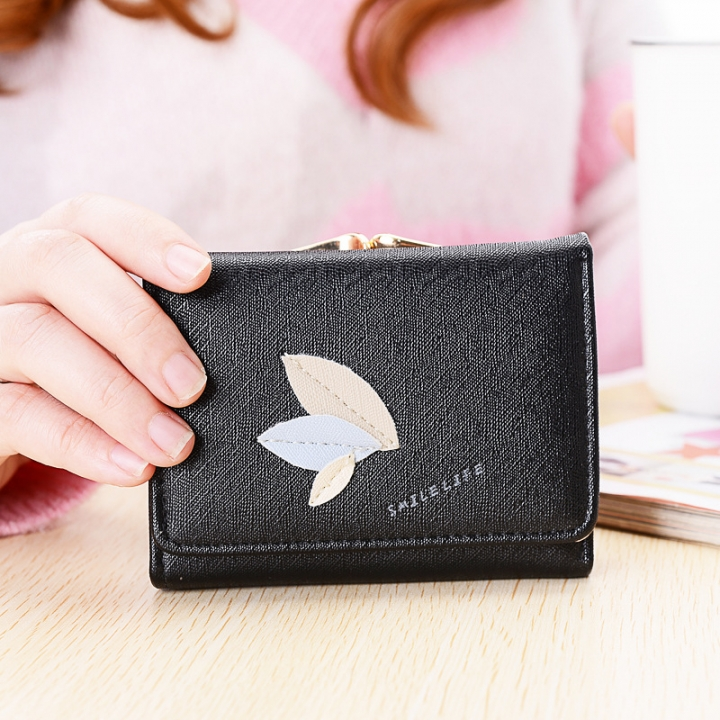 Ms Leisure Wallet Short Section Clip Pack Simple Leaves Buckle Three Fold Female Wallet black one size