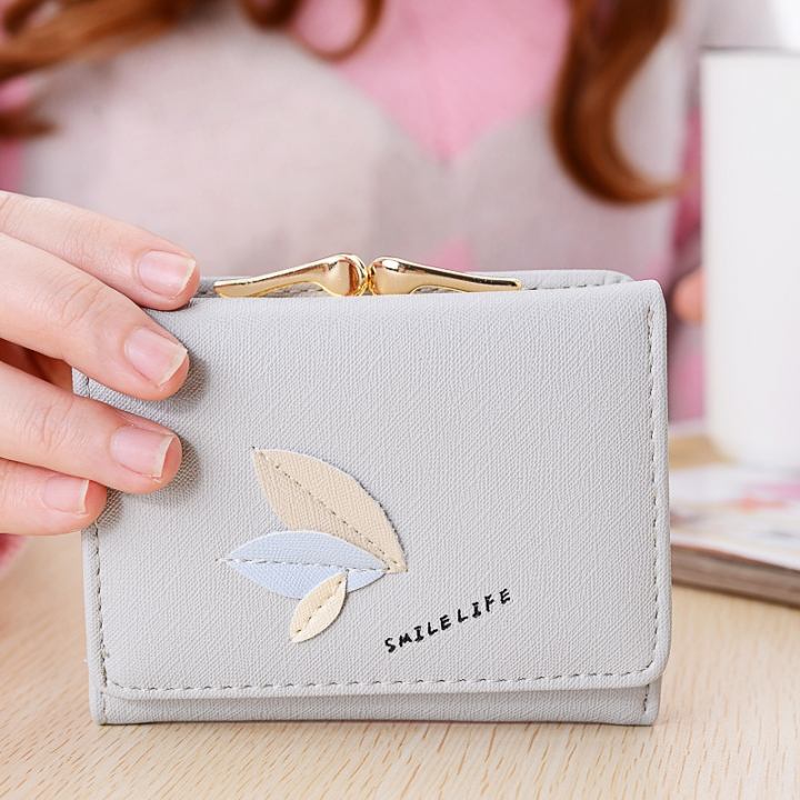 Ms Leisure Wallet Short Section Clip Pack Simple Leaves Buckle Three Fold Female Wallet gray one size