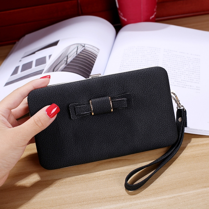 Ms wallet Mobile phone bag Bow tie Simple fashion Hand bag trend Female Folder bag watermelon red one size