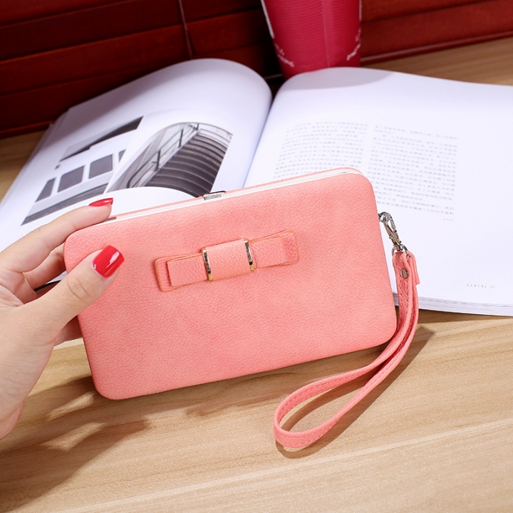 Ms wallet Mobile phone bag Bow tie Simple fashion Hand bag trend Female Folder bag pink one size