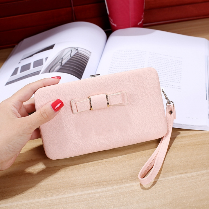 Ms wallet Mobile phone bag Bow tie Simple fashion Hand bag trend Female Folder bag ligth pink one size
