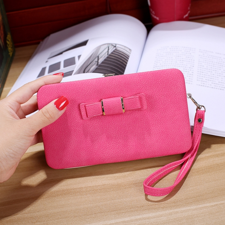 Ms wallet Mobile phone bag Bow tie Simple fashion Hand bag trend Female Folder bag rose red one size
