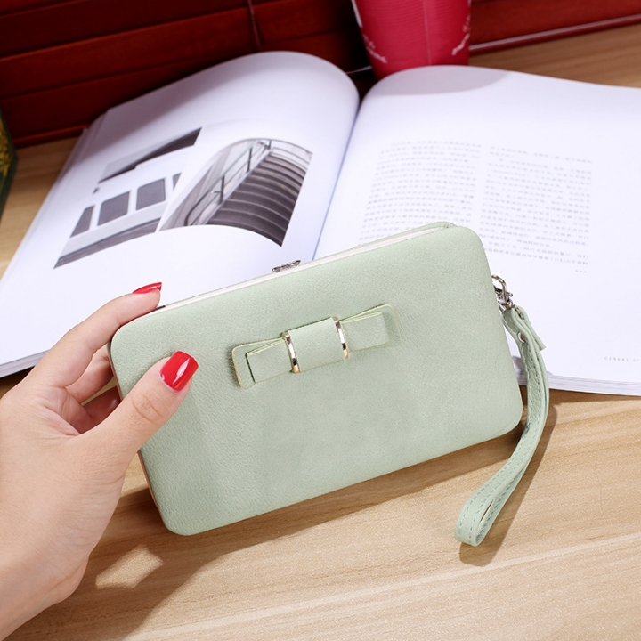 Ms wallet Mobile phone bag Bow tie Simple fashion Hand bag trend Female Folder bag ligth green one size