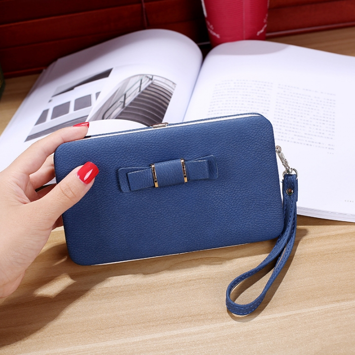 Ms wallet Mobile phone bag Bow tie Simple fashion Hand bag trend Female Folder bag sapphire one size