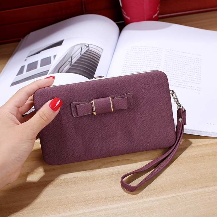 Ms wallet Mobile phone bag Bow tie Simple fashion Hand bag trend Female Folder bag dark purple one size