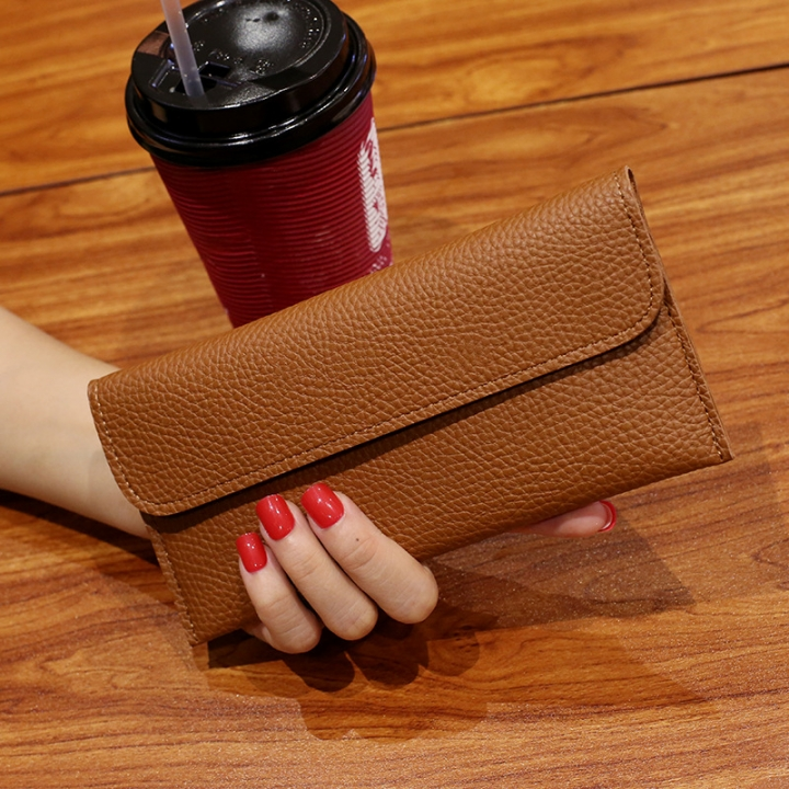 Ms Long Section Wallet Fashion Thin Section Student Wallet Simple Buckle Multi-card Bit Wallet brown one size