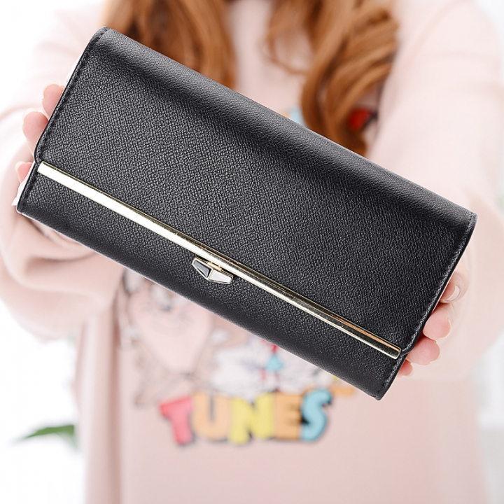 New wallet Female Long section student Simple Wallet Ms wallet Card pack black one size