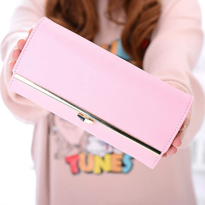 New wallet Female Long section student Simple Wallet Ms wallet Card pack pink one size