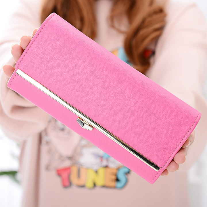 New wallet Female Long section student Simple Wallet Ms wallet Card pack rose red one size