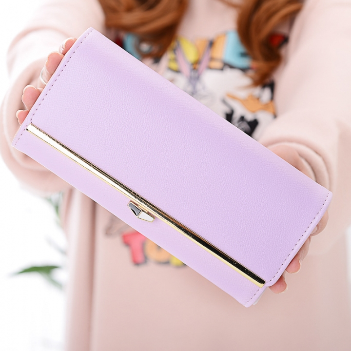 New wallet Female Long section student Simple Wallet Ms wallet Card pack purple one size