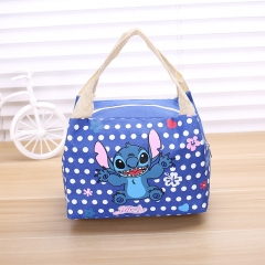 Lovely Cartoon Convenient Insulated Bag Waterproof Oxford Cloth Lunch Bag Zipper Lunch Box Bag dark blue one size